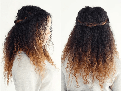 Curly twisted halo hairstyle