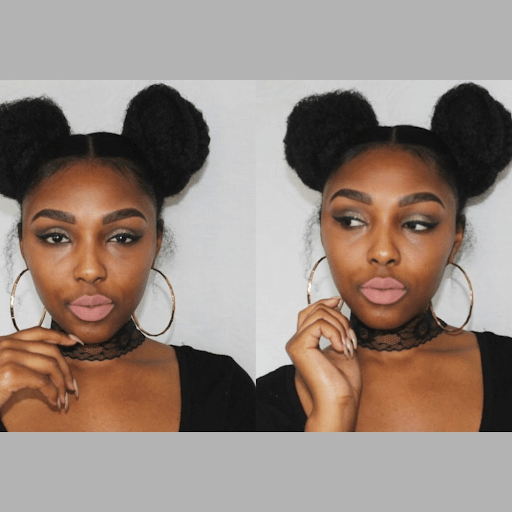 Curly double space-bun hairstyle